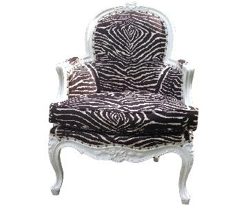 French/Hollywood Regency Bergere with Brunschwig Zebra Strip