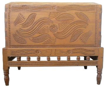 Solid Wood Hand Carved Chest