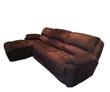 Raymour & Flanigan Power Reclining Sky Microfiber 3-Piece Sectional Sofa