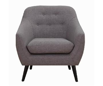 Mid Century Style Arm Chair in Dark Grey Fabric w/ Button Tufted Back