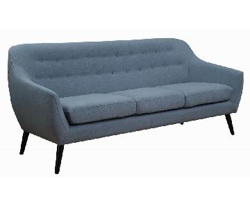 Mid Century Style Sofa in Aqua Color Fabric w/ Button Tufted