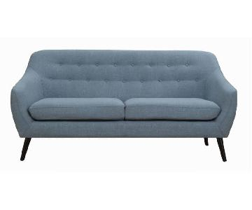 Mid-Century Style Loveseat in Aqua Color Fabric w/ Button Tu