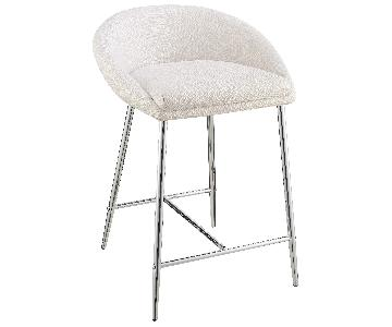 Modern Counter Height Stool in White Woven Fabric in Chrome