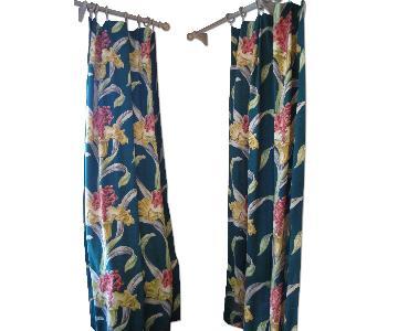 Mid Century Barkcloth Curtains Drapes