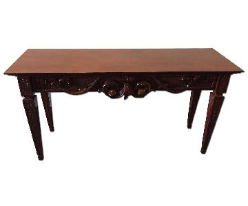Ethan Allen Solid Wood Ornate Console Table
