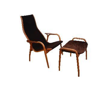 Swedese Yngve Ekstrom Danish Modern Lamino Chair & Ottoman