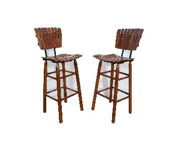 Arthur Umanoff Style Mid Century Modern Slat Seat Bar Stools