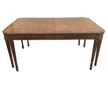 1920's Burled Maple Biedermeier Style Dining Room Table