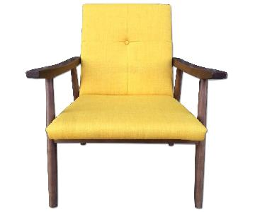 Mid Century Modern Solid Wood Lounge Arm Chair