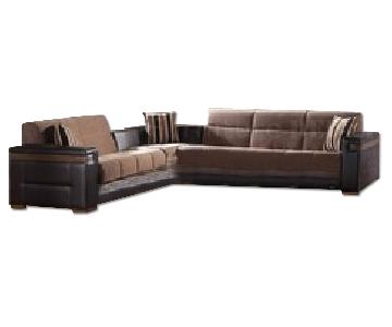 Istikbal Sunset Moon Sectional Sleeper Sofa In Troy Brown