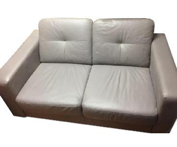 EQ3 Solo Leather Loveseat in Light Grey Color