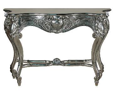 Louis XV Silver Leaf Console