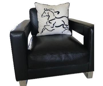 Bizzarri Italian Black Leather Sofa + 2 Chairs