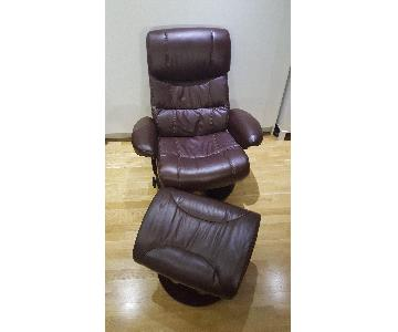 Macy's Aby Leather Recliner Chair & Ottoman