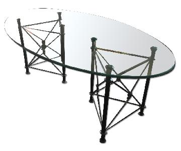 Glass Oval Table Top w/ Custom Pads
