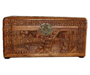 Antique Chinese Hand Carved Wood Jewelry Box