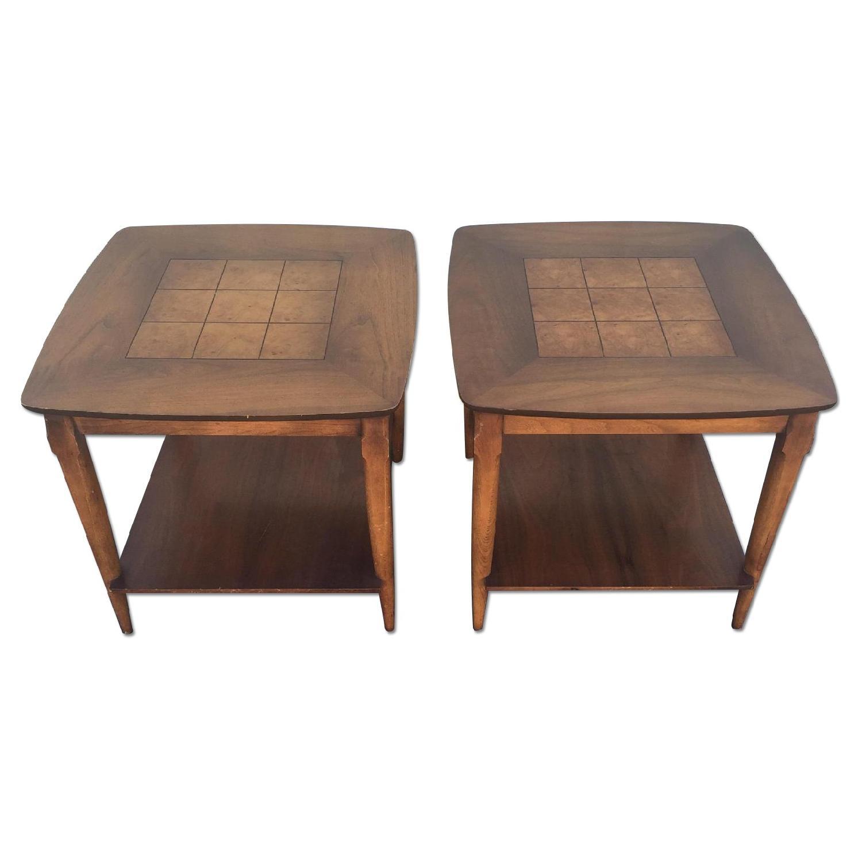 Lane Furniture Mid Century Burlwood End Tables ...