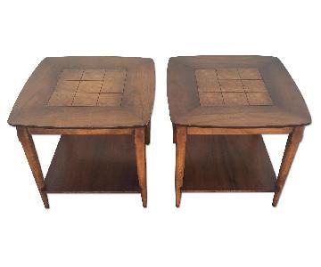 Lane Furniture Mid Century Burlwood End Tables