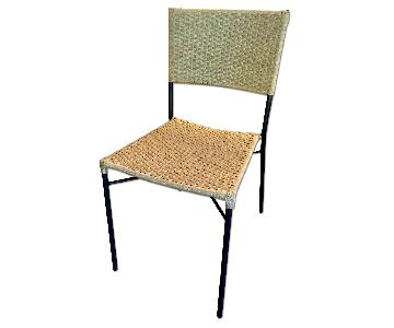 Crate & Barrel Metal & Rattan Dining Chairs