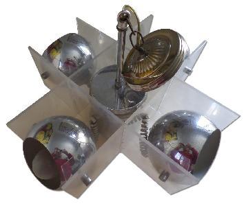 Mid Century Modern Lucite Chrome Ball & Acrylic Ceiling Ligh