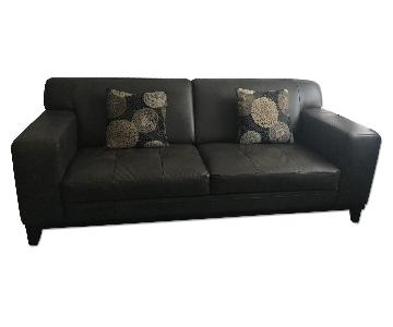 Raymour & Flanigan Contemporary Leather Sofa & Ottoman