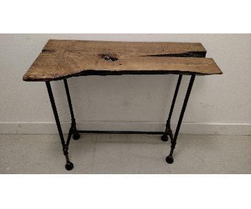 Oak Slab & Cast Iron Pipe Table
