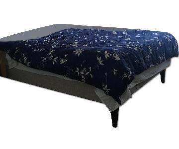 West Elm Narrow-Leg Upholstered Bed Frame in Linen Weave