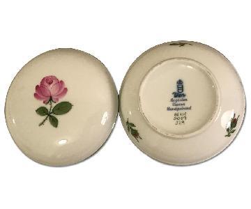 Vintage Vienna Wien Augarten Marked & Numbered Pink Rose Lidded Dish