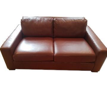 Design Within Reach Chestnut Leather Loveseat