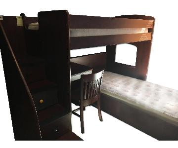 Cherrywood Twin Bunk Bed w/ Staircase & Shelves