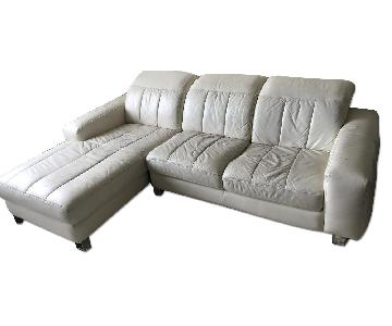 Moroni Leather Loveseat w/ Chaise Sectional Sofa