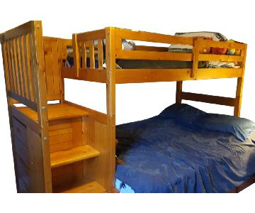 Honey Pine Twin Over Full Bunk Bed
