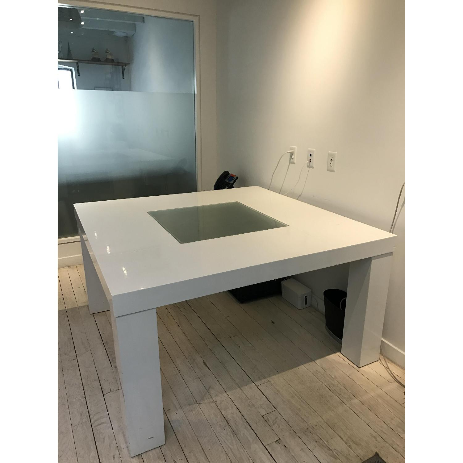 Large White Dining Table Office Desk Aptdeco