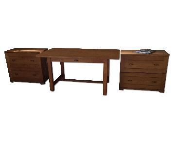 Crate & Barrel Desk + 2 Filing Cabinets