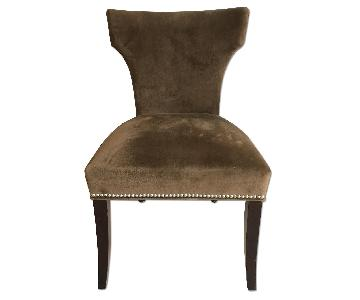 Crate & Barrel Custom Upholstered Chocolate Suede Dining Cha