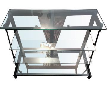 Metal TV Stand w/ Glass Shelves