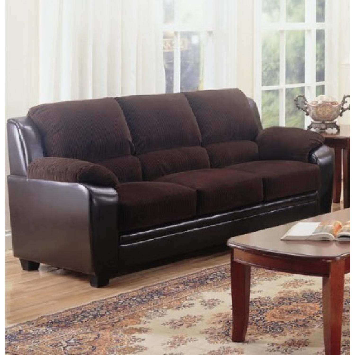 Sofa in Brown Corduroy Fabric w/ Dark Brown PU Base