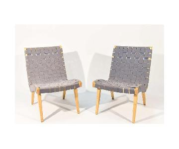 Knoll Jens Risom Maple & Gray Webbing Lounge Chairs