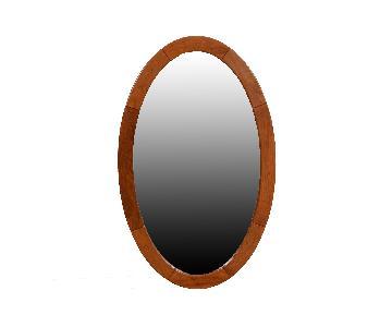 Danish Modern Teak Oval Mirror