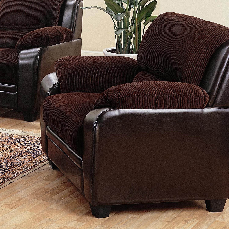 Arm Chair in Brown Corduroy Fabric w/ Dark Brown PU Base - image-1