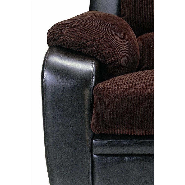 Arm Chair in Brown Corduroy Fabric w/ Dark Brown PU Base - image-2