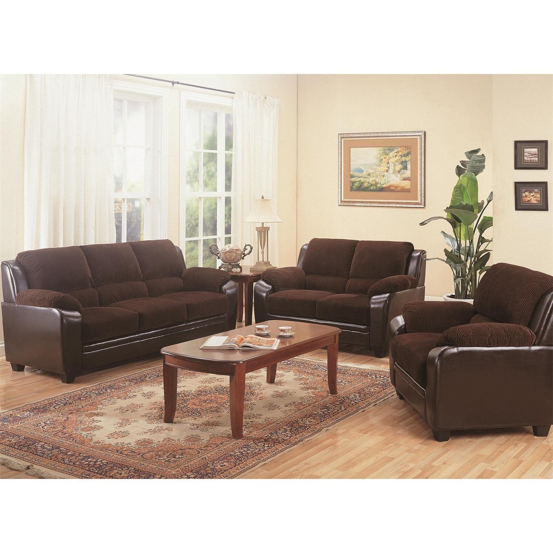 Arm Chair in Brown Corduroy Fabric w/ Dark Brown PU Base - image-3