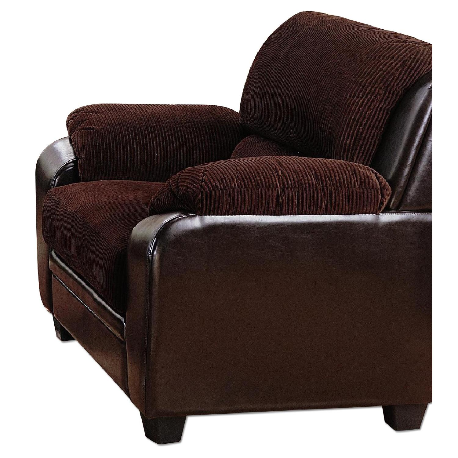 Arm Chair in Brown Corduroy Fabric w Dark Brown PU AptDeco