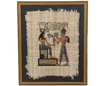 Egyptian Painting on Papyrus Depicting Goddess Hathor