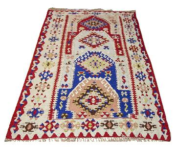 Turkish Vintage Hand-Woven Silk Kilim Rug