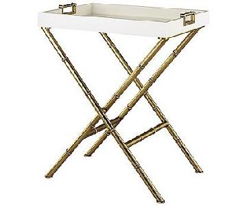 Jonathan Adler Meurice Butler Tray Table in Polished Nickel