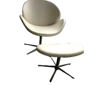 BoConcept Ogi White Bahia Leather Chair & Footstool