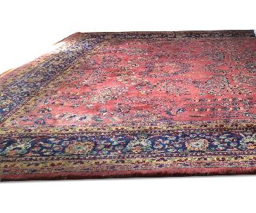 Rose/Navy Sarouk Indian/Persian Rug