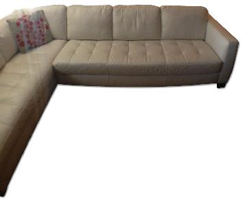 Macy's White Italian Leather Sectional Couch