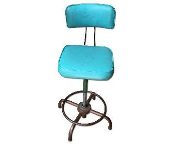 Vintage Adjustable Industrial Drafting Stool in Turquoise